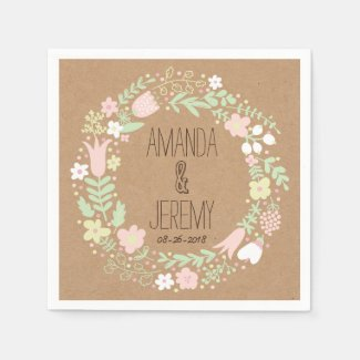 Whimsical Floral Wreath on Craft Paper Wedding Disposable Napkins