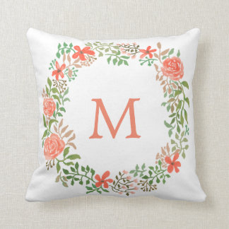 Whimsical Floral Wreath Watercolor | Monogram Throw Pillow