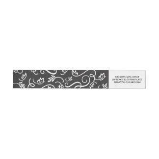 Whimsical Florals   Faux Chalkboard Wraparound Return Address Label