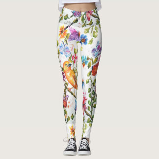 WHIMSICAL FLORALS WITH A YELLOW BIRD LEGGINGS