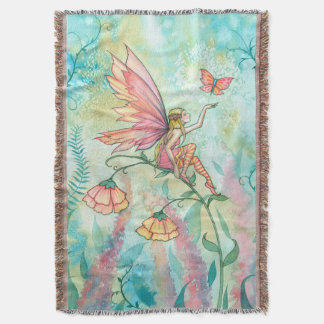 Whimsical Flower Fairy Fantasy Art Throw Blanket