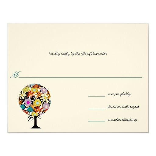 "Whimsical Flower Love Tree Wedding... - Customized 4.25"" X 5.5"" Invitation Card"