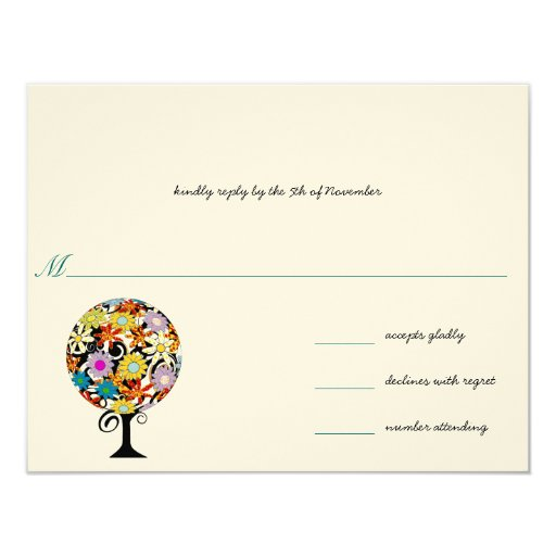 "Whimsical Flower Love Tree Wedding... - Customized 4.25"" X 5.5"" Invitation Card"