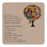 Whimsical Flower Love Tree Wedding Invitation