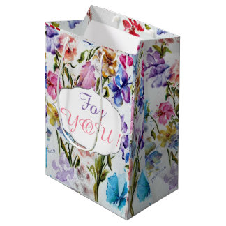 WHIMSICAL FLOWER PATTERN MEDIUM GIFT BAG