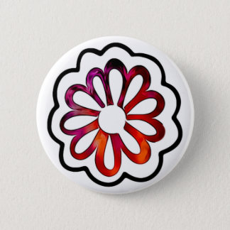 Whimsical Flower Power Doodle 2 Inch Round Button