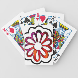 Whimsical Flower Power Doodle Bicycle Playing Cards