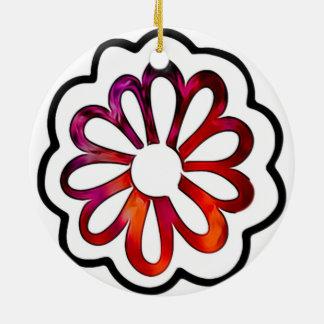 Whimsical Flower Power Doodle Ceramic Ornament