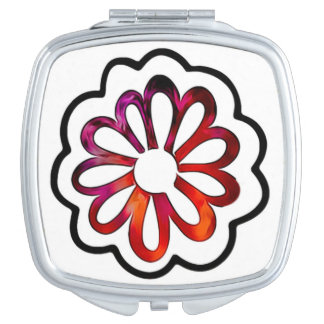 Whimsical Flower Power Doodle Compact Mirror