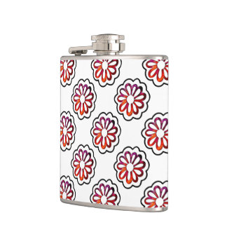 Whimsical Flower Power Doodle Hip Flask