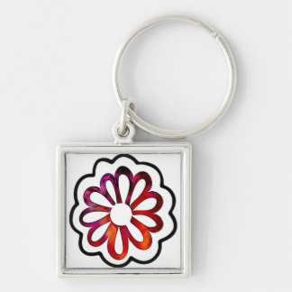 Whimsical Flower Power Doodle Keychain
