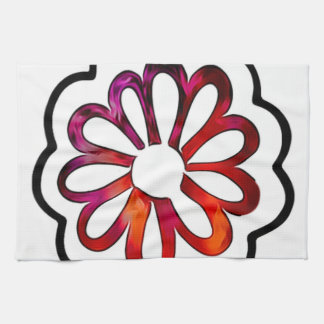 Whimsical Flower Power Doodle Kitchen Towel