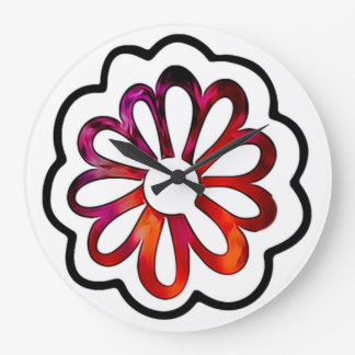 Whimsical Flower Power Doodle Large Clock