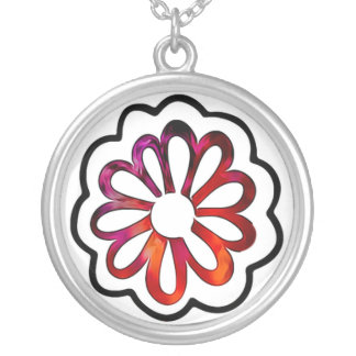 Whimsical Flower Power Doodle Silver Plated Necklace