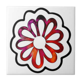 Whimsical Flower Power Doodle Tile