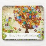 Whimsical Flower Tree Wedding Mousepad