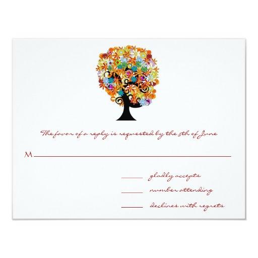 "Whimsical Flower Tree Wedding Response Cards 4.25"" X 5.5"" Invitation Card"
