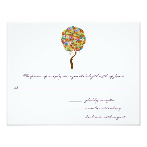 "Whimsical Flower Tree Wedding Response Cards 4.25"" X 5.5"" Invitation Card"