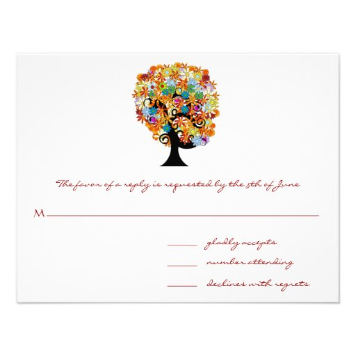 Whimsical Flower Tree Wedding Response Cards Personalized Invitations