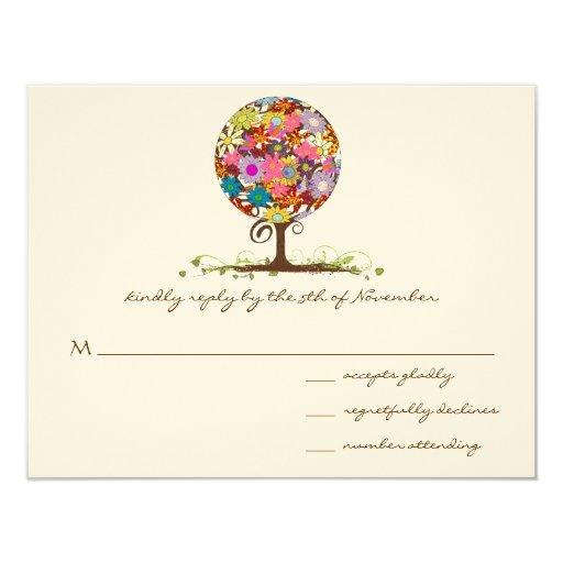 "Whimsical Flower Tree Wedding RSVP 4.25"" X 5.5"" Invitation Card"