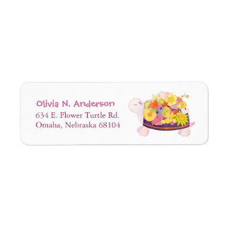 Whimsical Flower Turtle Address Return Address Label
