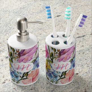 WHIMSICAL FLOWERS AND BUTTERFLIES SOAP DISPENSER AND TOOTHBRUSH HOLDER
