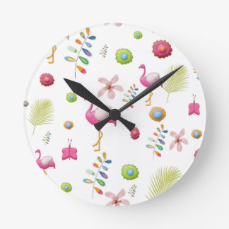Whimsical Flowers and Pink Flamingos Clocks