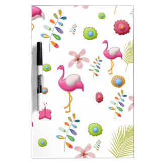 Whimsical Flowers and Pink Flamingos Dry-Erase Whiteboards