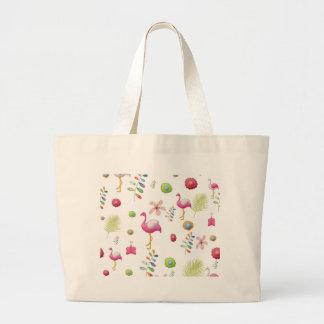 Whimsical Flowers and Pink Flamingos Jumbo Tote Bag
