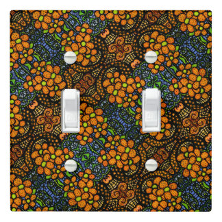 Whimsical Flowers Blue Orange Pattern Light Switch Cover