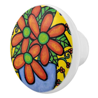 Whimsical Flowers  Bright Colors Ceramic Knob