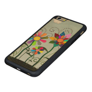 Whimsical Flowers Carved Maple iPhone 6 Plus Bumper Case
