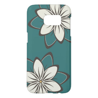 Whimsical Flowers Dark Turquoise Samsung Galaxy S7 Case