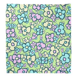Whimsical Flowers Folk Art Style Pink Blue Yellow Bandana
