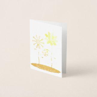 Whimsical Flowers Gold Foil Print Foil Card