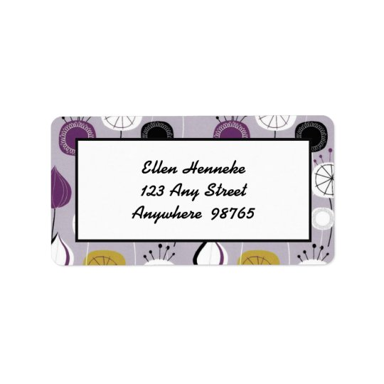 Whimsical Flowers on Lavender Label