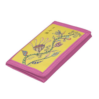 Whimsical Flowers on Yellow Trifold Wallets