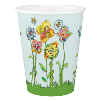 Whimsical Flowers Paper Cup