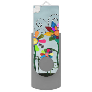 Whimsical Flowers USB Flash Drive