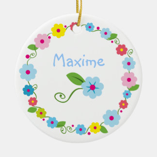 Whimsical Flowers with Your Name Ornament
