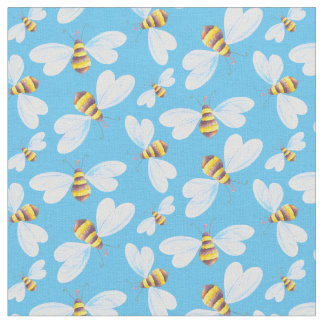Whimsical flying bee watercolor art pattern fabric