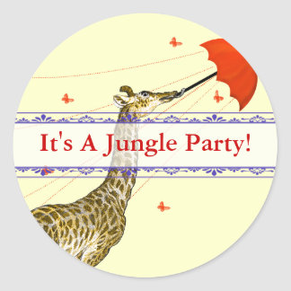 Whimsical Flying Giraffe Red Umbrella Stickers