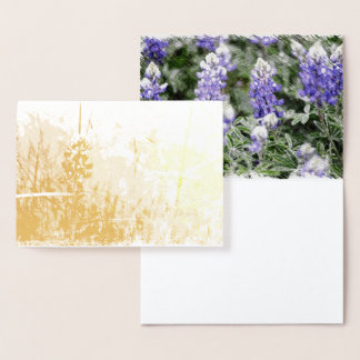 Whimsical Foil Bluebonnet Design Foil Card