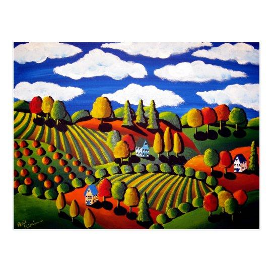 Whimsical Folk Art Fall Landscape Post Card