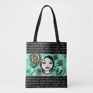 Whimsical Folk Art Girl and Flowers Tote Bag