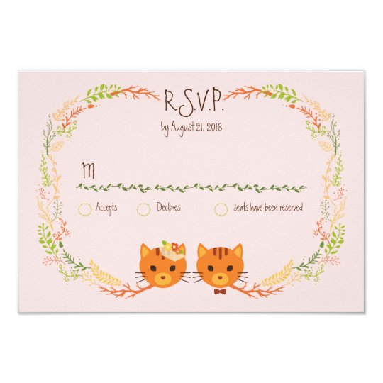 Whimsical Forest Cats (Blush) Wedding RSVP Card