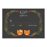 """Whimsical Forest Cats Wedding RSVP 3.5"""" X 5"""" Invitation Card"""