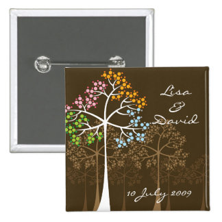 Whimsical Four Seasons Trees Brown Wedding Button