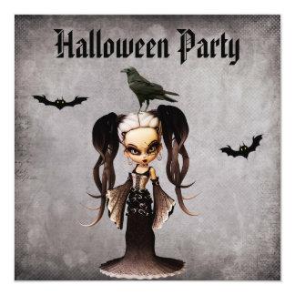 "Whimsical Frankie Bride & Crow Damask Halloween 5.25"" Square Invitation Card"