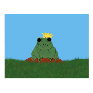 Whimsical Frog Prince with Crown Postcard